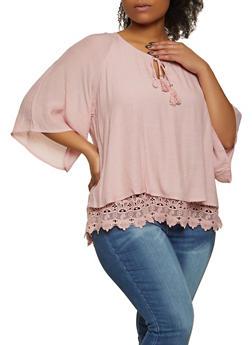 Plus Size Gauze Knit Top - 8406056120022