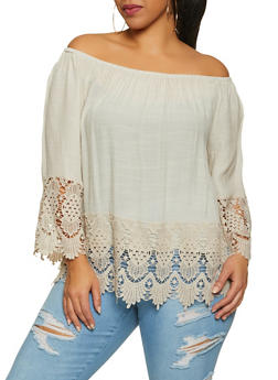 Plus Size Crochet Trim Off the Shoulder Top | 8406056120023 - 8406056120023