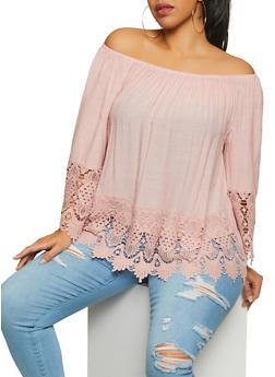 Plus Size Crochet Trim Off the Shoulder Top   8406056120023 - 8406056120023