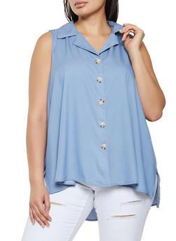Plus Size Sleeveless Button Front Chambray Shirt - 8406056120135