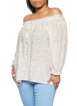 Plus Size Off the Shoulder Paisley Print Top - 8406056120158