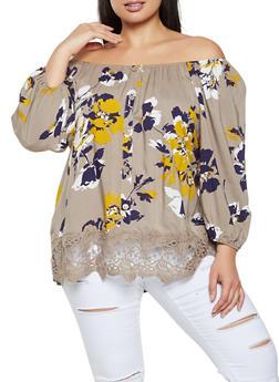 Plus Size Floral Crochet Detail Off the Shoulder Top - 8406056120210