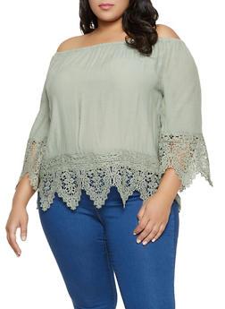 Plus Size Gauze Knit Crochet Off the Shoulder Top - 8406056120609