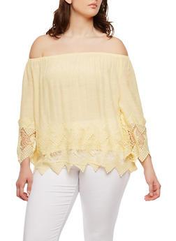 Plus Size Off the Shoulder Crochet Trim Top - 8406056122500