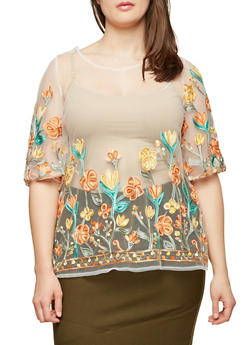 Plus Size Embroidered Mesh Top - 8406056122651