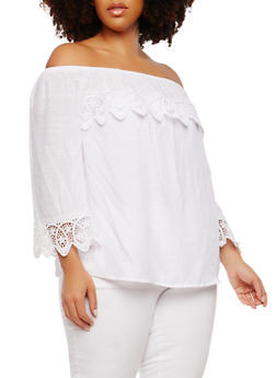Plus Size Crochet Detail Off the Shoulder Top - 8406056122819