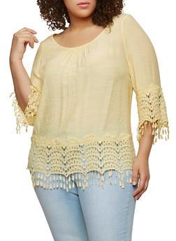 Plus Size Crochet Trim Peasant Top - 8406056122867