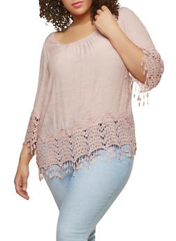 Plus Size Crochet Trim Peasant Top - 8406056122867