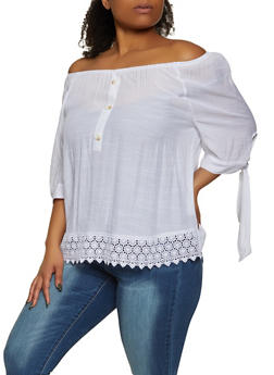 Plus Size Tie Sleeve Off the Shoulder Top - 8406056124160