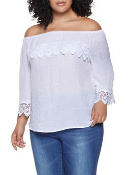 Plus Size Crochet Trim Off the Shoulder Top - 8406056124250
