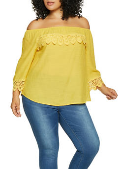 Plus Size Crochet Trim Off the Shoulder Top - 8406056124250