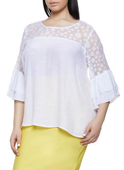 Plus Size Polka Dot Mesh Yoke Top - 8406056124289