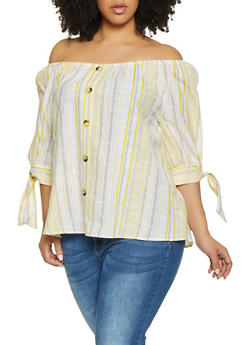 Plus Size Striped Off the Shoulder Tie Sleeve Top - 8406056125115