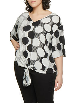 Plus Size Large Polka Dot Striped Tie Front Top - 8406056125161