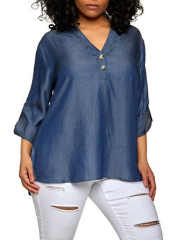 Plus Size Tabbed Chambray Top - 8406056126003