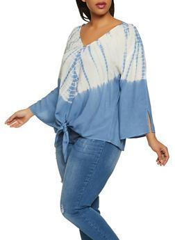 Plus Size Tie Dye V Neck Top - 8406056126035