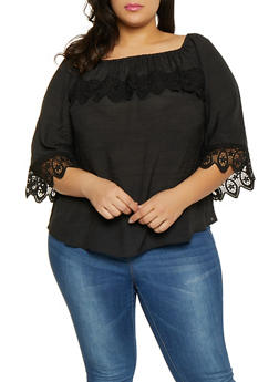 Plus Size Crochet Trim Off the Shoulder Top - 8406056128182