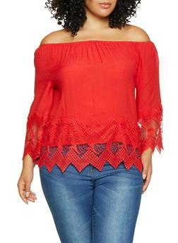Plus Size Crochet Trim Off the Shoulder Top - 8406056128182