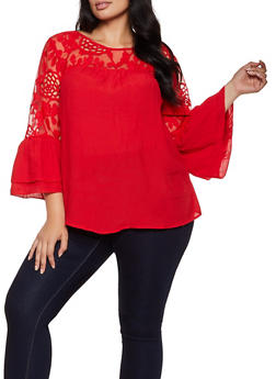 Plus Size Gauze Knit Embroidered Yoke Peasant Top - 8406056129075