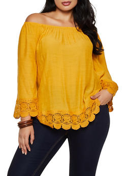 Plus Size Crochet Trim Off the Shoulder Top - 8406056129076