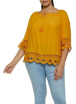 Plus Size Crochet Trim Tassel Top - 8406056129077