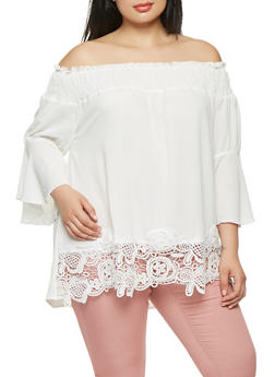 Plus Size Crepe Knit Off the Shoulder Top - 8406058750369