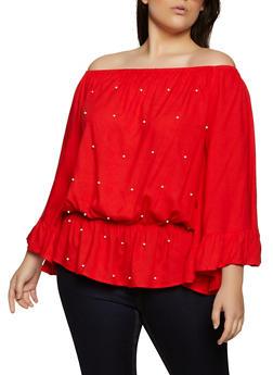 Plus Size Faux Pearl Off the Shoulder Top - 8406061635718