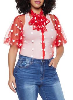 Plus Size Polka Dot Mesh Shirt - 8406062121152