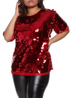 Plus Size Short Sleeve Sequin Top - 8406062128850