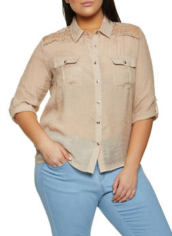Plus Size Crochet Detail Gauze Knit Shirt - 8406062702118