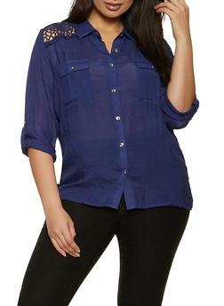 Plus Size Crochet Detail Gauze Knit Shirt - 8406062702118