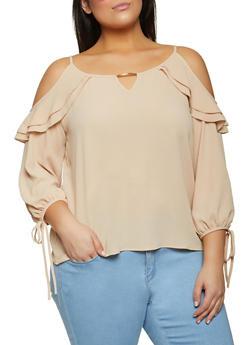 Plus Size Textured Cold Shoulder Blouse - 8406062702119
