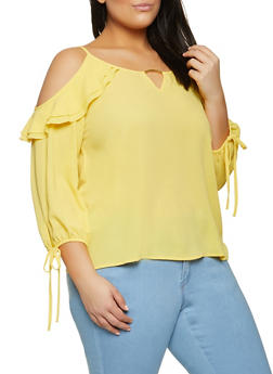 Plus Size Textured Cold Shoulder Blouse - 8406062702119