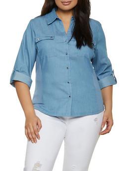 Plus Size Rib Knit Trim Denim Shirt - 8406062702120