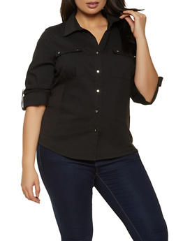 Plus Size Solid Tabbed Sleeve Shirt - 8406062702121
