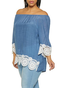 Plus Size Gauze Knit Off the Shoulder Top - 8406062702328