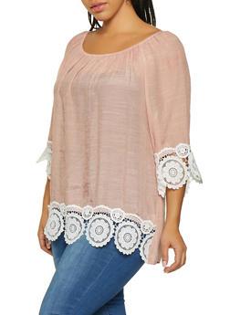 Plus Size Gauze Knit Off the Shoulder Top - 8406062702328