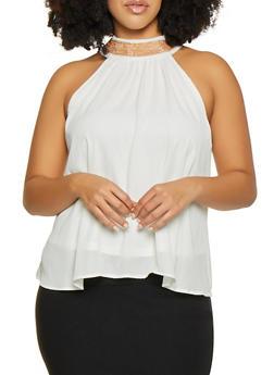 Plus Size Chain Neck Detail Sleeveless Blouse - 8406062702371