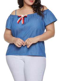 Plus Size Blue Denim Tops