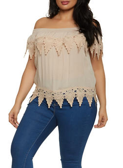 Plus Size Crochet Trim Off the Shoulder Peasant Top - 8406062703071