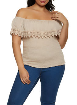 Plus Size Smocked Off the Shoulder Top - 8406062703072