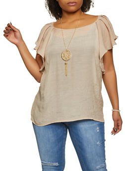 Plus Size Ruffled Crepe Knit Top with Necklace - 8406062703171