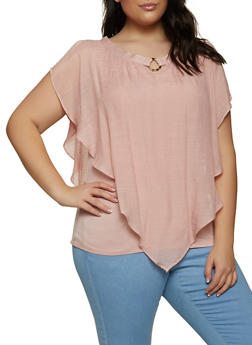 Plus Size Linen Overlay Top - 8406062703318