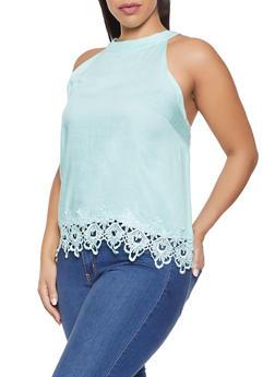 Plus Size Sleeveless Crochet Trim Top - 8406063508146