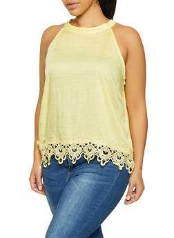 Plus Size Sleeveless Crochet Trim Top - 8406063508146