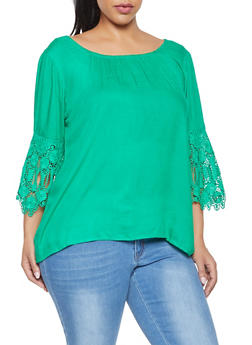 Plus Size Crochet Sleeve Top - 8406063508147