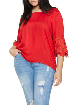 Plus Size Crochet Sleeve Top - 8406063508147