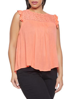 Plus Size Lace Yoke Gauze Knit Top - 8406063508148