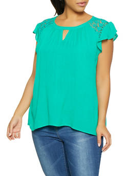 Plus Size Crochet Insert Gauze Knit Top - 8406063508149