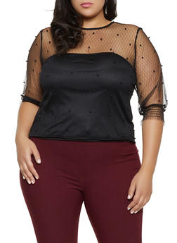 Plus Size Faux Pearl Decorative Stitch Mesh Top - 8406064460599